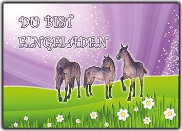 Einladungskarten Pferde Zum Kindergeburtstag Geburtstag Kinder 12 Stück Im  Günstigen Set Für Mädchen Girls U0026 Jungen