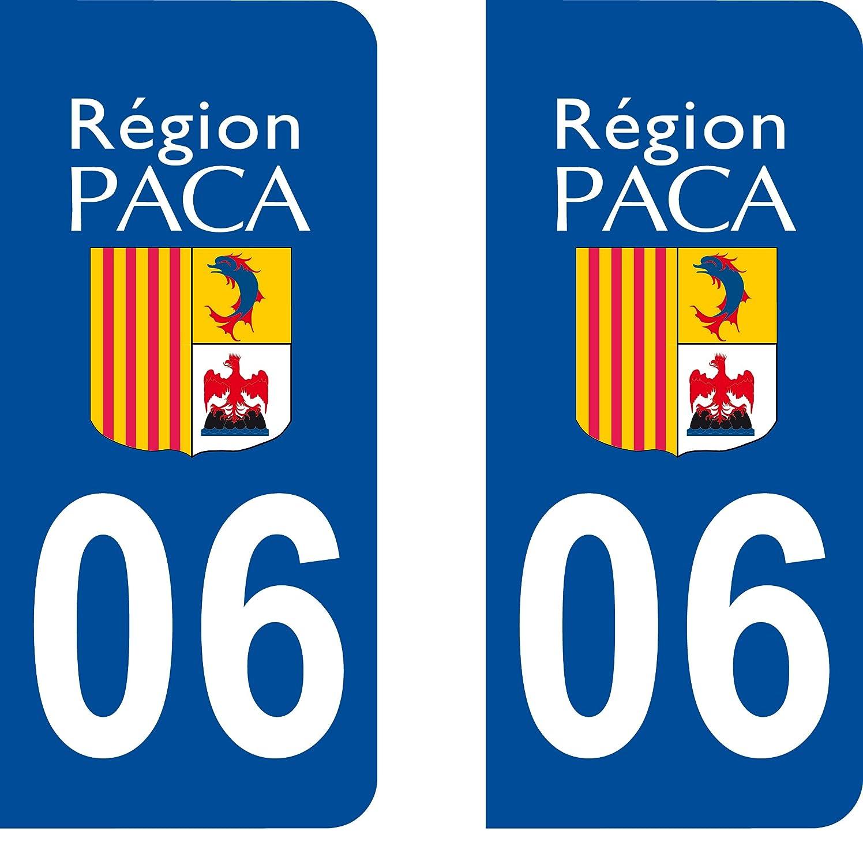 SAFIRMES 2 Stickers Autocollant Style Plaque Immatriculation dé partement 06
