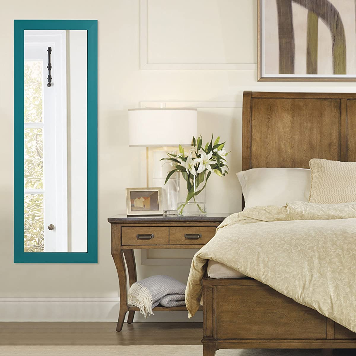 Inspired Home Julie Full Length Over-the-Door/Wall Mounted Jewelry Armoire Mirror Makeup Storage Organizer Vanity, Turquoise