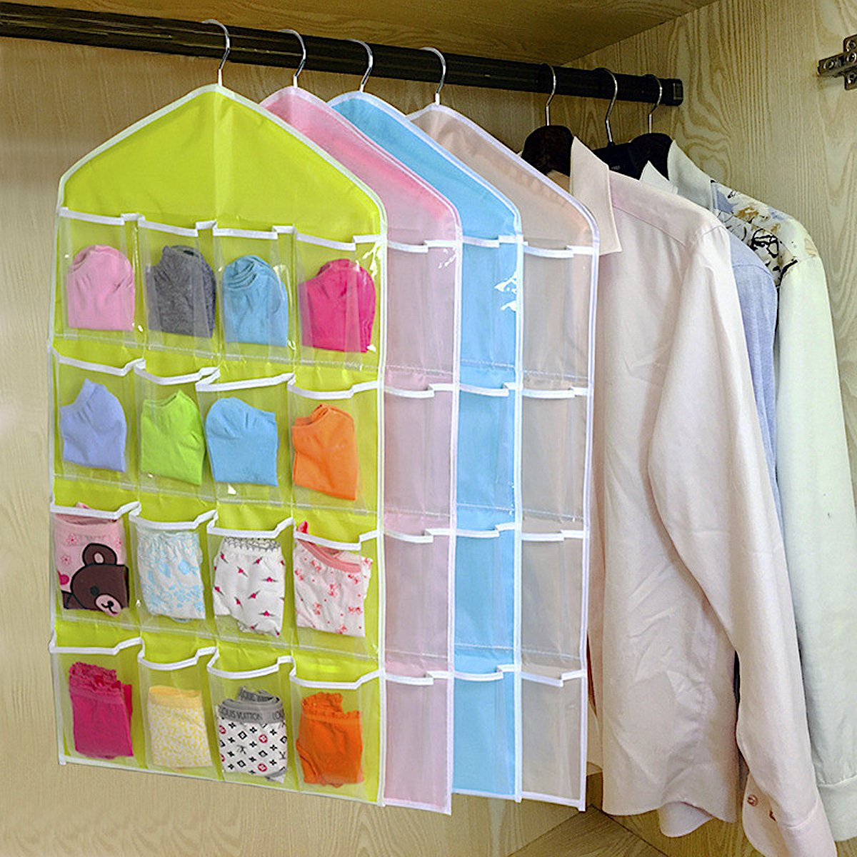 funda bolsa para colgar con 16/compartimentos cosm/ético etc ligera ropa interior fina para guardar joyas juguetes ropa de manualidades organizador calcetines Bolsa de almacenamiento