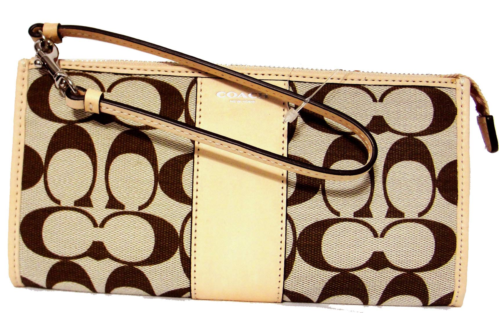 COACH Women's Box Legacy Printed Signature Zippy Silver/Light Khaki Madeira/Vch