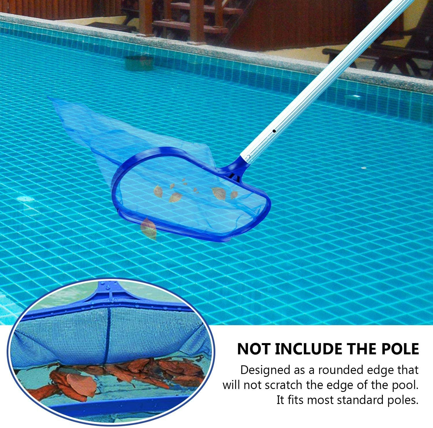 Fine Mesh Net for Cleaning Swimming Pool Heavy Duty Skimming Pool Net without pole Garden Pond ECHG Professional Pool Leaf Skimmer Hot Tub and Spa