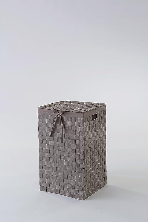 Compactor e Incrustaciones de 38 cm cinturón Tex rayón Cesta para la Ropa Sucia con Tapa y Lino en el Interior, marrón: Amazon.es: Hogar