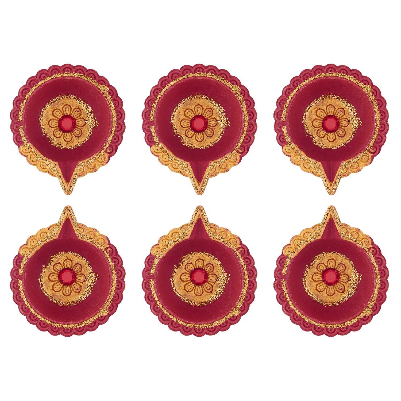 Set of 6 Handmade Earthen clay Diya for Diwali Decoration