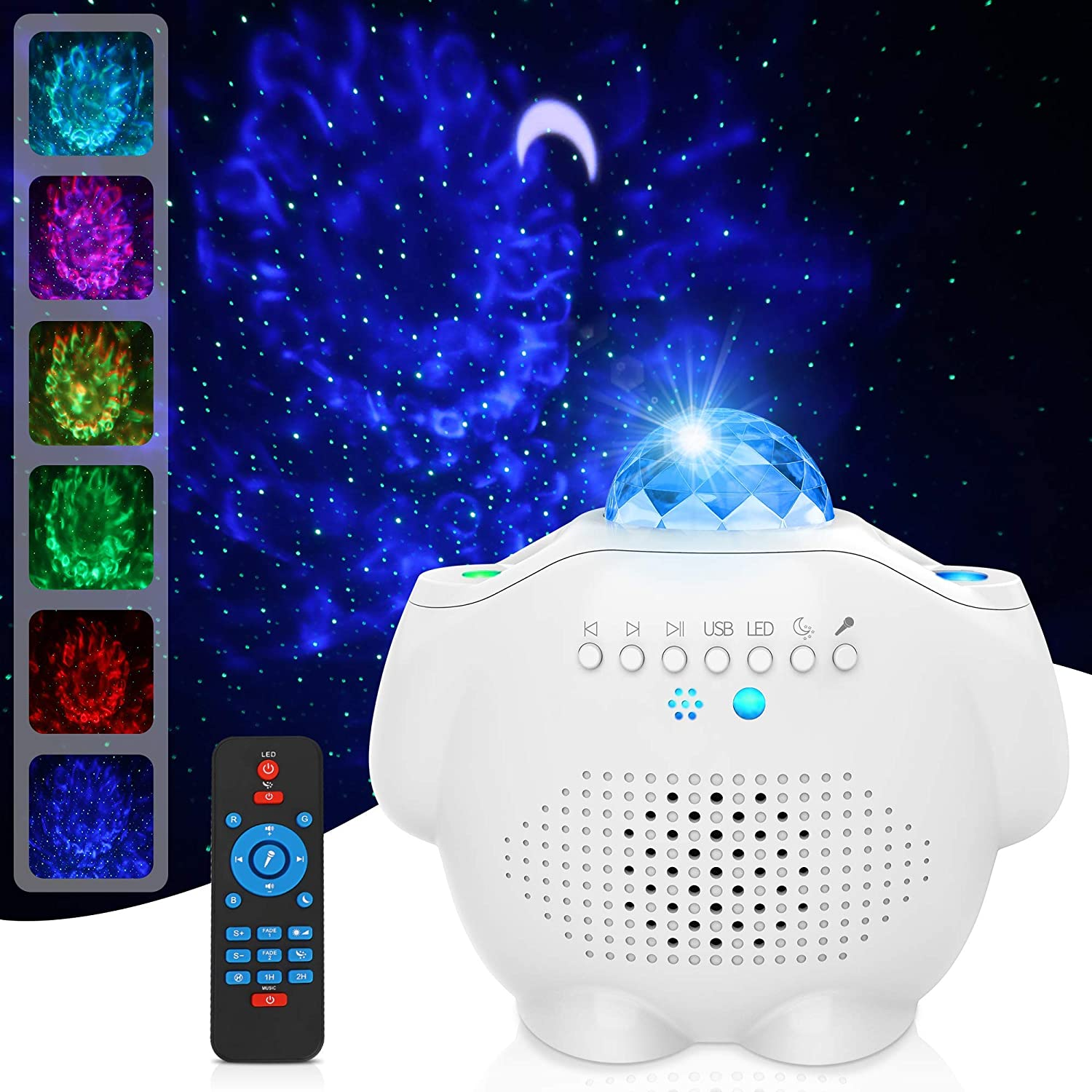 Star Projector, GRDE Galaxy Projector 4 in 1Night Light Projector Ocean Wave Projector with Bluetooth Music Speaker for Baby Kids Bedroom/Party Decoration/Home Theatre/Night Light Ambiance?White?