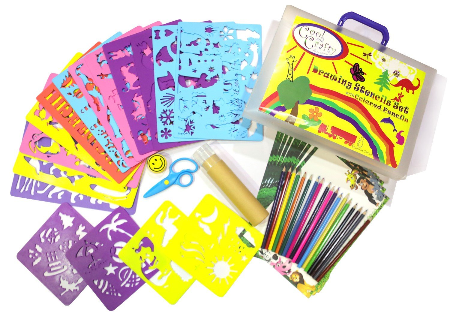 Kids Stencil Set - Drawing stencils with over 250 cute animal and holiday shapes children love - Arts and craft fun for girls and boys aged 3-9 - be amazed at your childs creativity