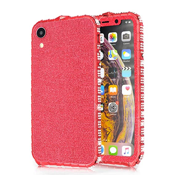 super popular 0c629 d807f Fusicase for iPhone XR Diamond Case Metal Case Electroplate Bumper Frame  Case Luxury Bling Artificial Diamond Crystal Rhinestone Cover Bling Glitter  ...