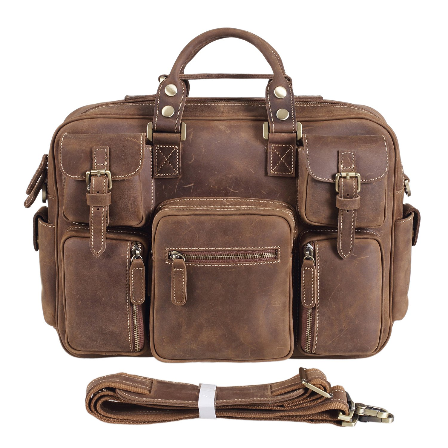 Texbo Vintage Genuine Cowhide Leather Messenger Briefcase Shoulder Bag Tote by Texbo (Image #1)