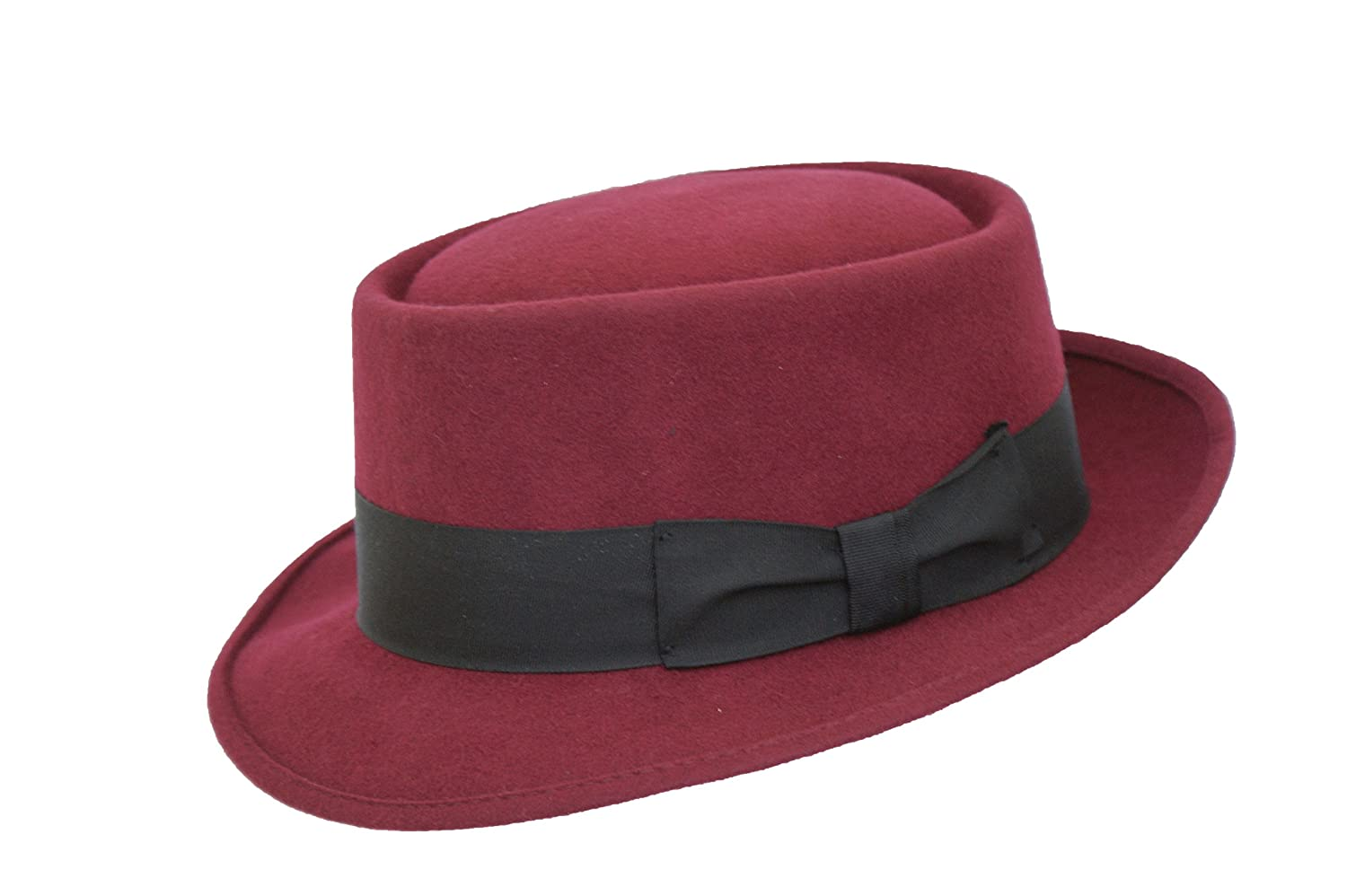 MAROON HIGH QUALITY HAND MADE 100% WOOL FELT PORKPIE TRILBY HAT WITH BLACK BAND
