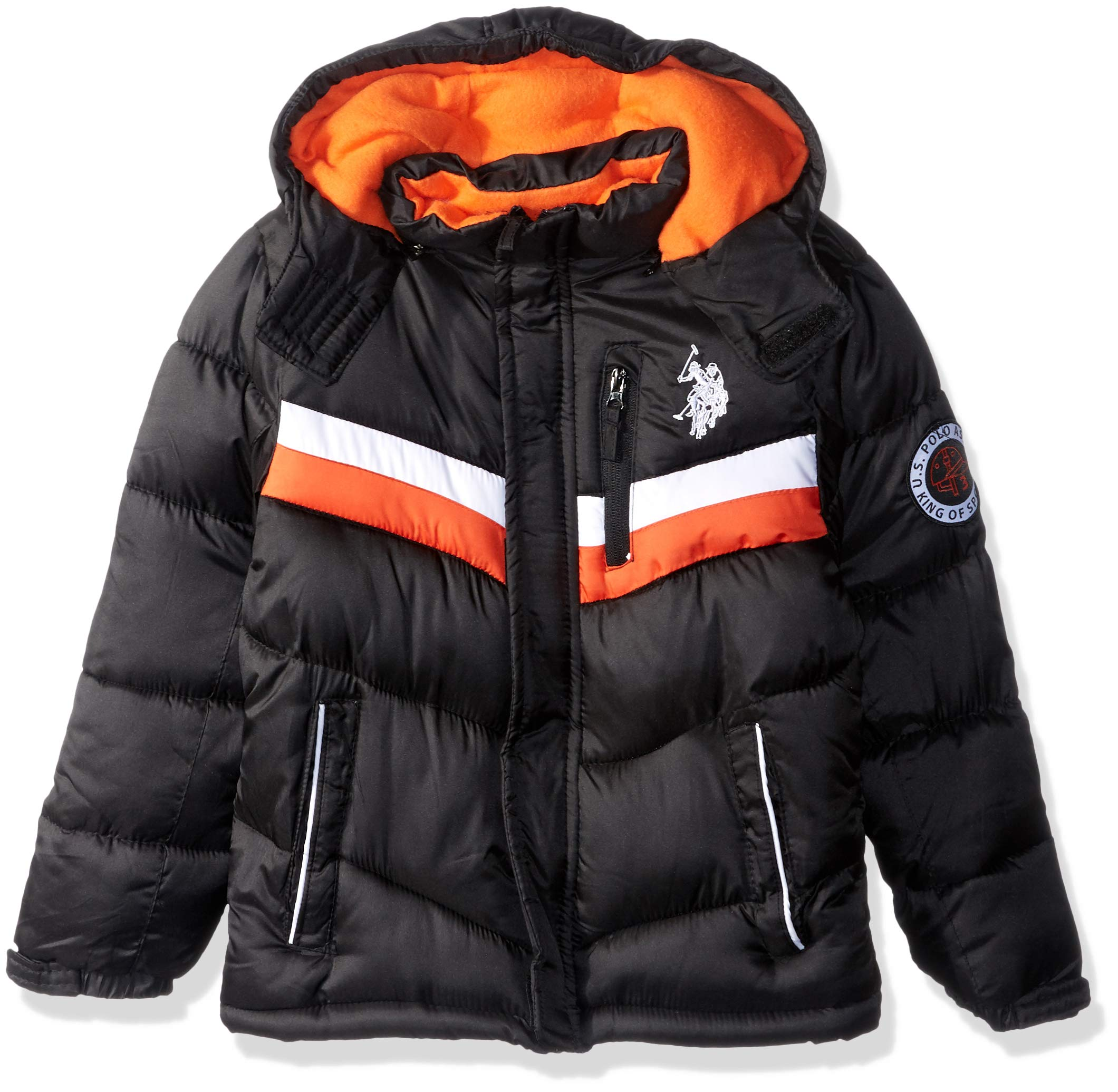 US Polo Association Boys' Big Classic Bubble Jacket, Black, 8