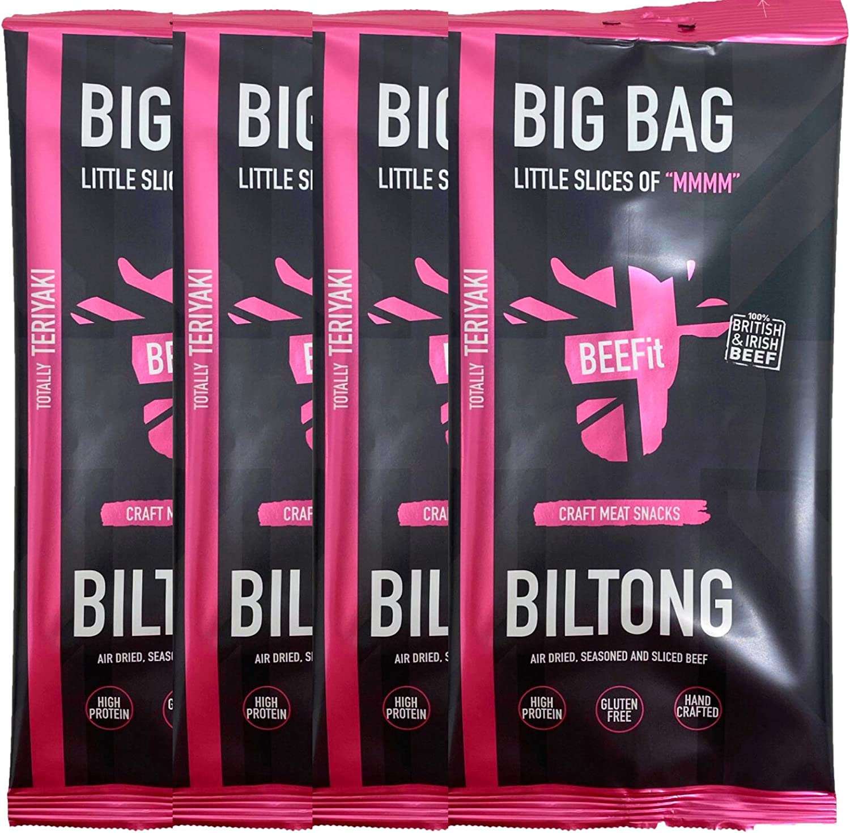 BEEFit Snacks Bolsa de 1kg (4x250g) de Teriyaki Biltong, alto en proteínas, saludable, bajo en azúcar, Carne seca, Beef Jerky
