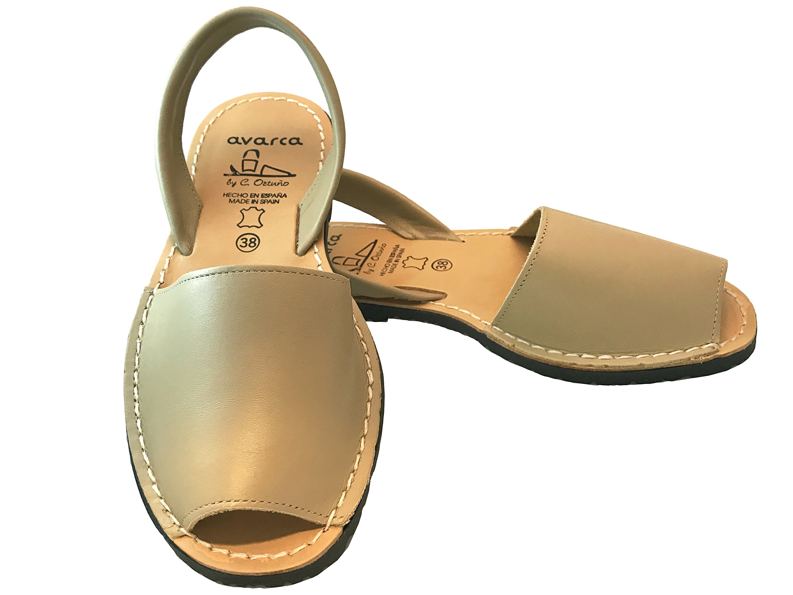 Avarcas Sandals for Women - Handmade in Spain with Natural Leather (Size 8 Beige)