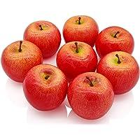 SAMYO 8 pcs Artificial Red Apple Set Decoration