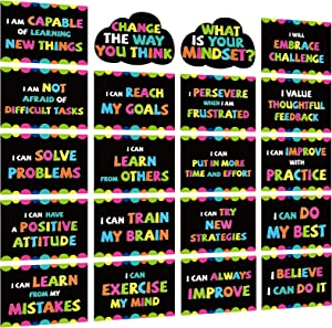 Growth Mindset Posters Bulletin Board Decorations, 20 Pcs Positive Sayings for Poster Board Classroom Decorations, What is Your Mindset Classroom Decor Set, Motivational Quotes for Teacher Supplies