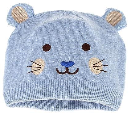La Vogue Bonnet Beanie Enfant Bébé Tour De Tête 36-46cm Automne Hiver  Tricote Bleu 60cce2653f1
