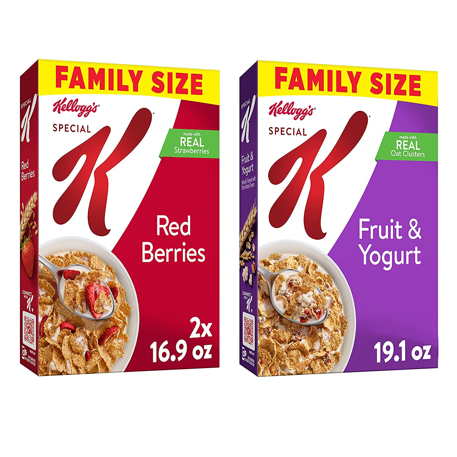 Kellogg's Special K Breakfast Cereal, Variety Pack, Red Berries, 16.9 oz Box (2 Boxes) and Fruit and Yogurt, 19.1 oz Box (1 Box)