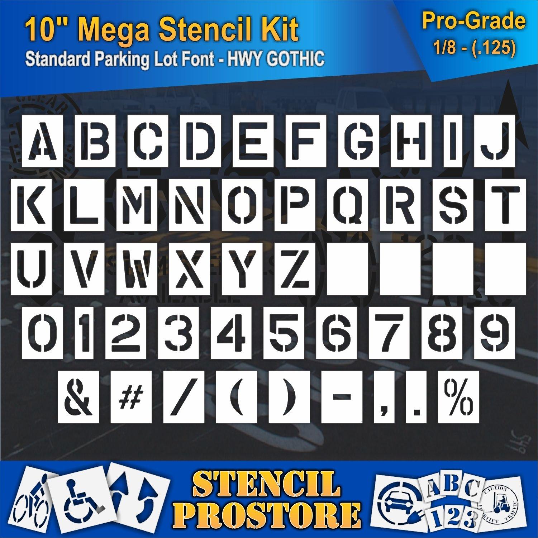 Pavement Stencils -10 inch MEGA Alpha/NUM Set - (64 Piece) - 10'' x 7.5'' x 1/8'' (128 mil) - Pro-Grade by Stencil ProStore (Image #2)