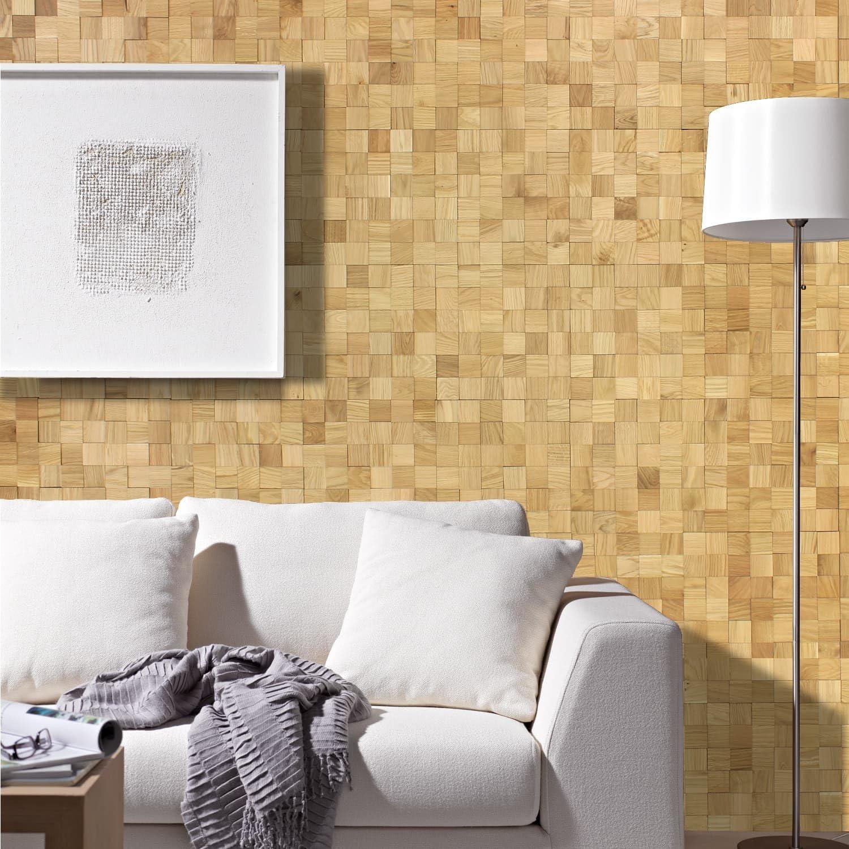 wodewa Paneles de Madera Autoadhesivo para Pared Acero 30 x 30cm Mosaico Revestimiento de Paredes 3D Panel Decorativo Madera Interior Sala de Estar Cocina Dormitorio Mural