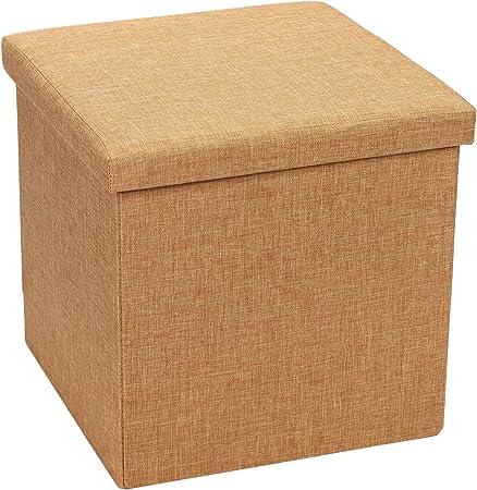 Bonlife – Taburete con espacio de almacenamiento, baúl de lino, para salón, caja, taburete con espacio de almacenamiento: Amazon.es: Hogar