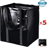 5-Pack Reusable Grocery Shopping Tote w/Durable Reinforced Polyester Handles