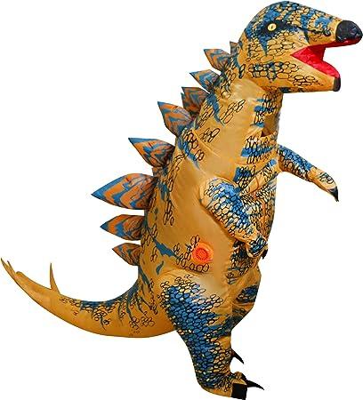 LOLANTA Disfraz de Disfraz de Dinosaurio Inflable de estegosaurio Infantil para niños (Marrón)