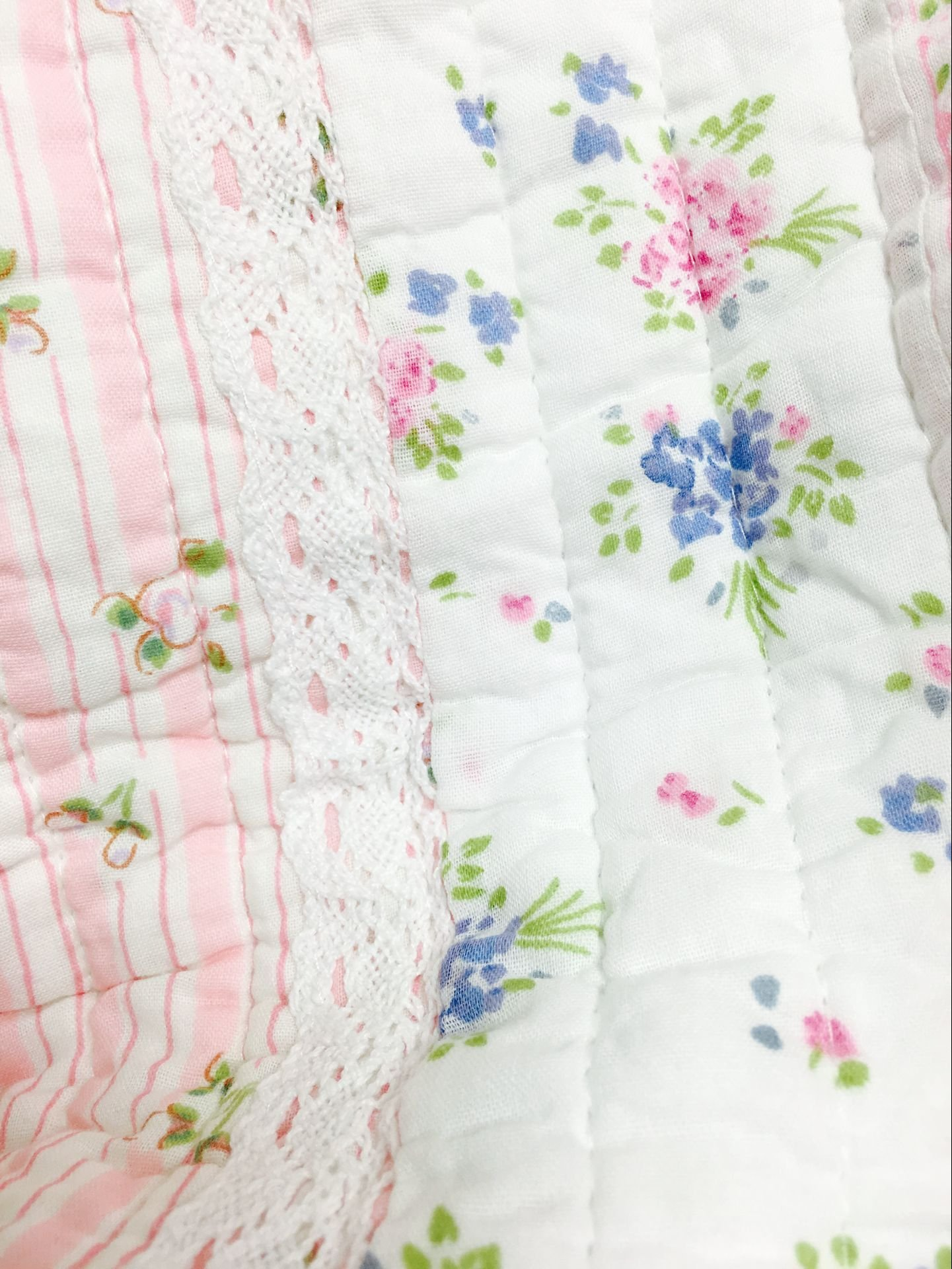 Cozy Line Home Fashions Pink Rose Romantic Chic Lace Bedding Quilt Set, Floral Flower Printed 3D Stripe 100% COTTON Reversible Coverlet Bedspread Gifts for Girls Women (Queen - 3 piece) by Cozy Line Home Fashions (Image #2)