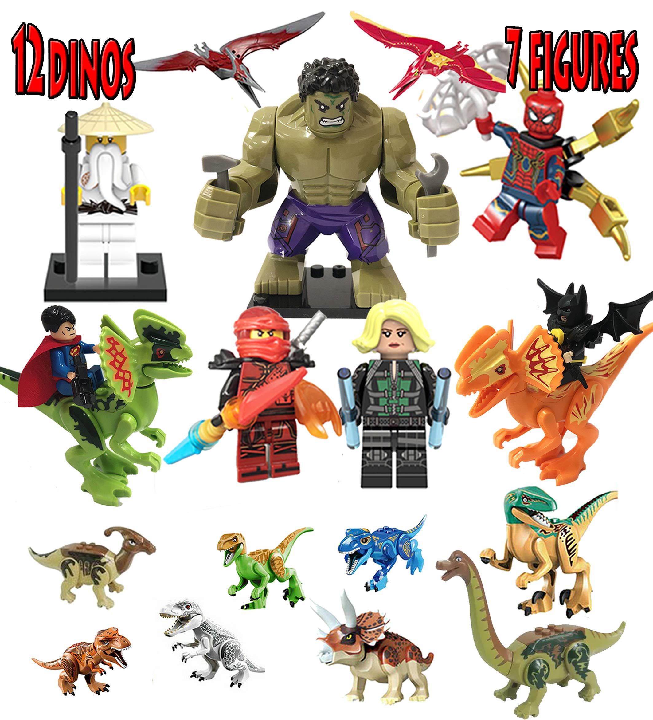 MyElegantMoments Marvel Minifigures Superheroes Spiderman Hulk Dinosaurs Building Blocks Marvel Figures Toys Superman, Batman, Captain Marvel toys Action Figures,Educational Gift for Boys&Girls(19pcs)