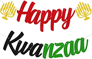 Happy Kwanzaa Banner - Rustic African Heritage Holiday Party Mantel Fireplace Decors Decorations African Joyous Kwanzaa Party Supplies (Double-sided & Glitter)
