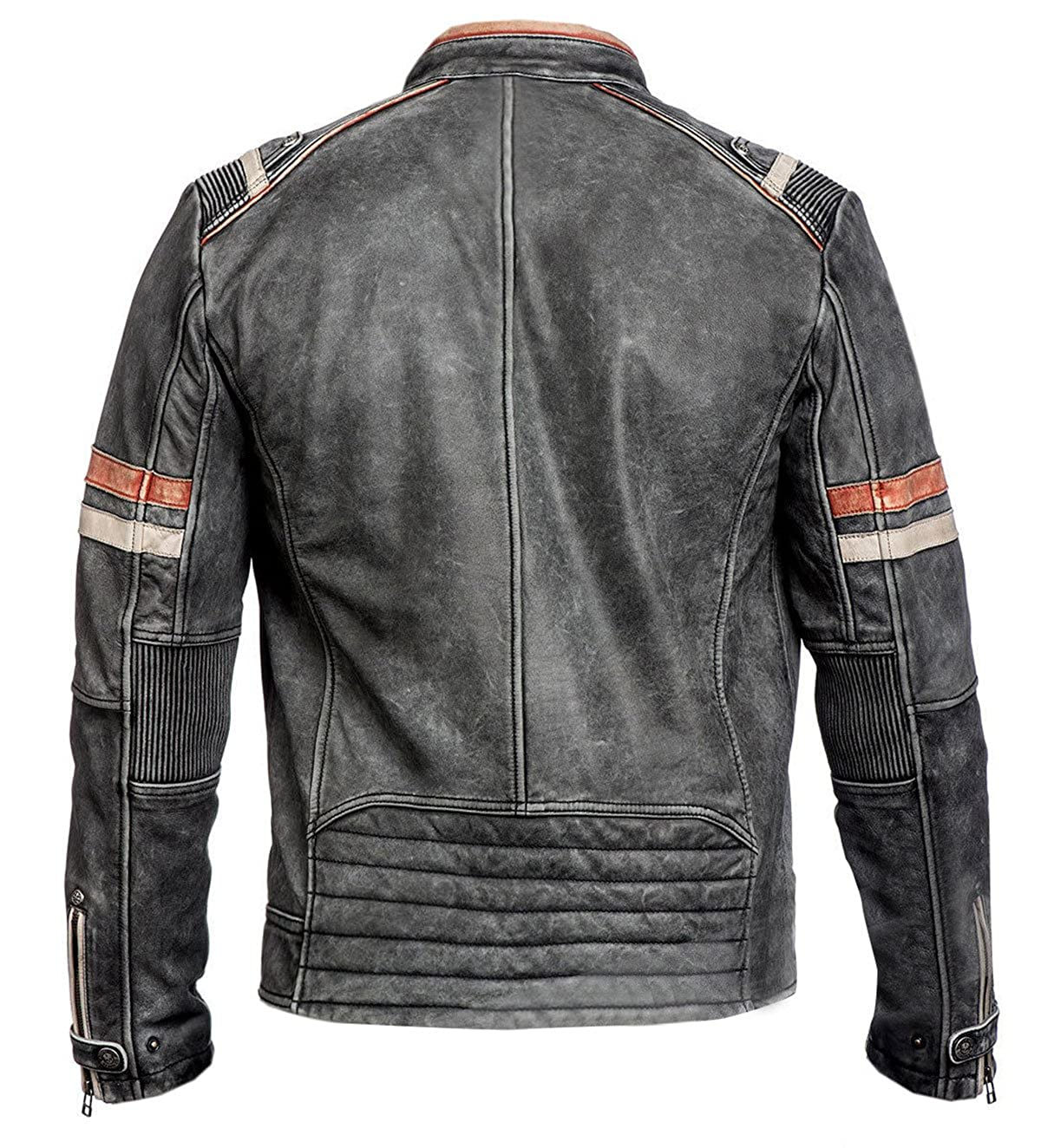 Spazeup Cafe Racer Jacket Vintage Motorcycle Retro Moto Distressed Leather Jacket
