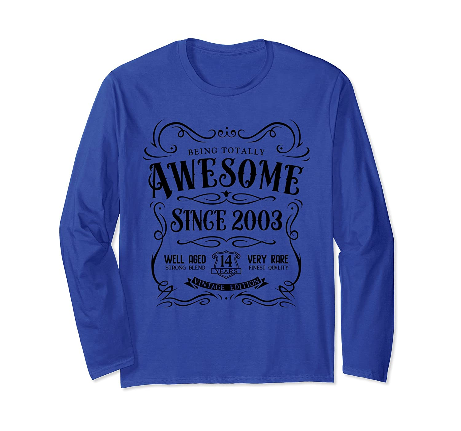 14th Birthday Gift T-Shirt Awesome Since 2003 Long Sleeve-Rose