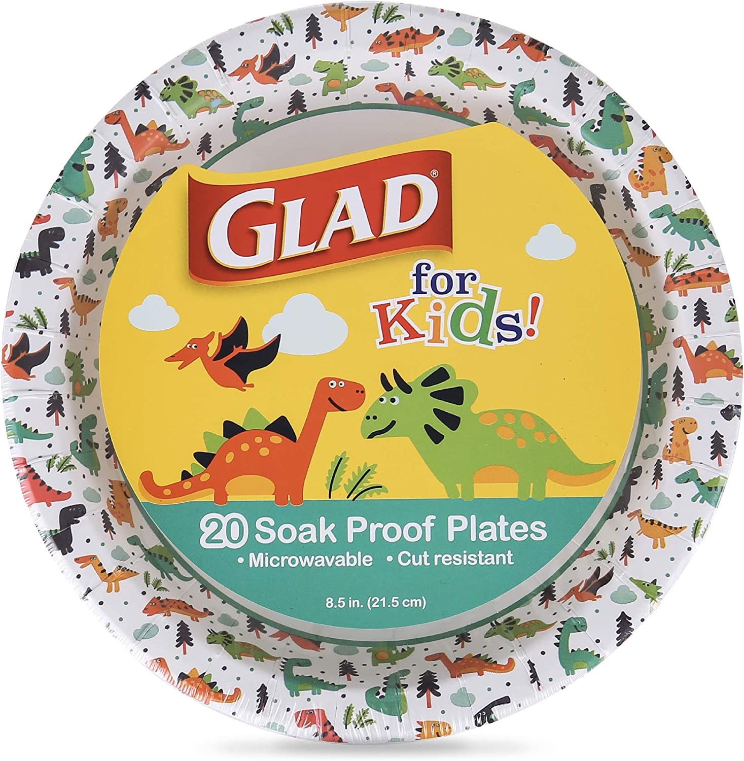 Glad for Kids 8 1/2-Inch Paper Plates | Small Round Paper Plates with Cute Dinosaur Design for Kids | Heavy Duty Disposable Soak Proof Microwavable Paper Plates for All Occasions, 20 Count