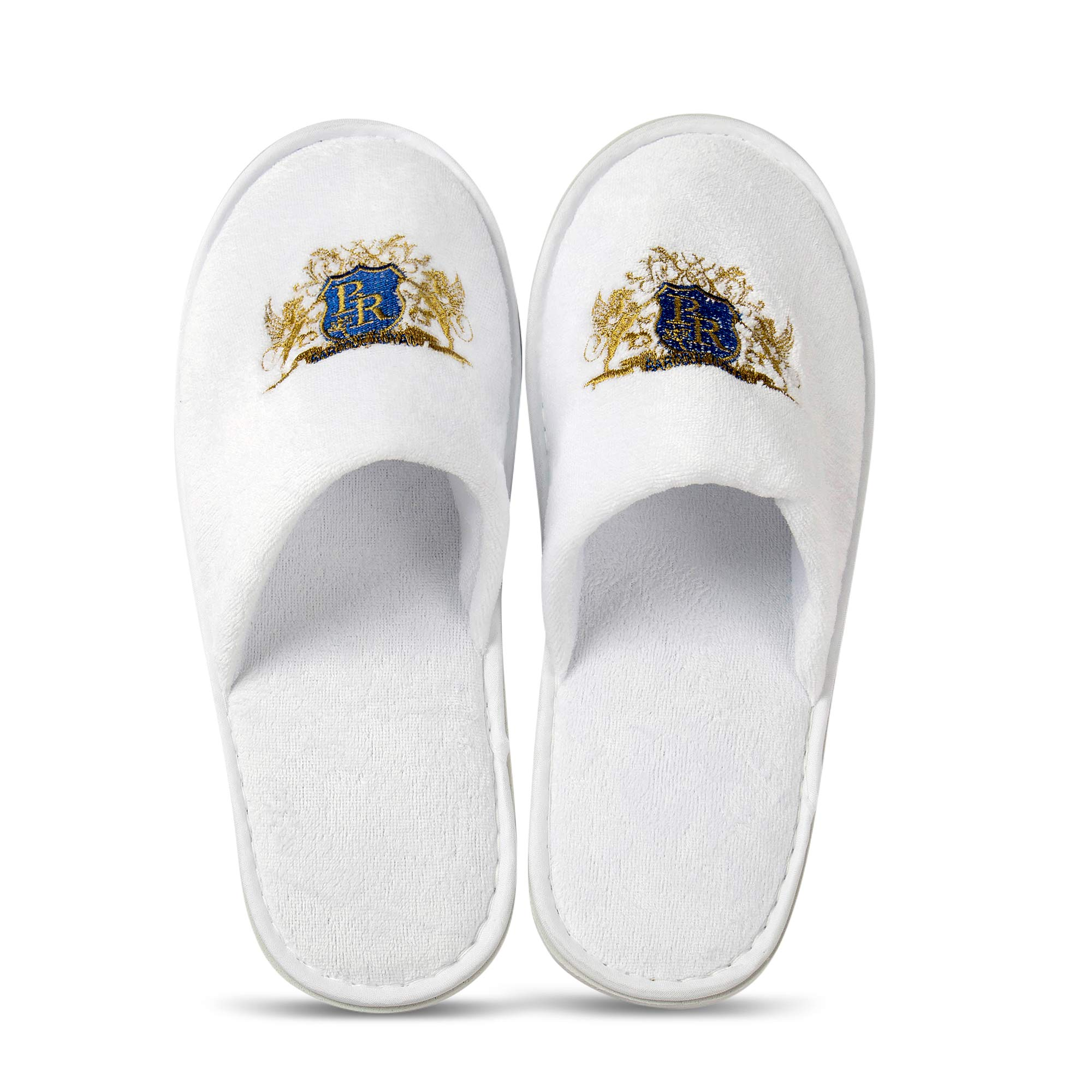 Baroque Royal Disposable Indoor Spa Slippers, Bulk Pack of 12, Soft Cotton Hotel Slippers for Guests, Non-Slip EVA Sole, White Closed Toe Home Slippers for Women, Men, Travel, AirBnb, Bridesmaids by Baroque Royal