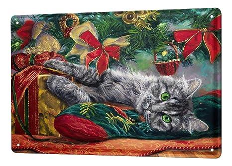 Cartel Letrero de Chapa XXL Raza De Gato gato acostado bajo el árbol de Navidad
