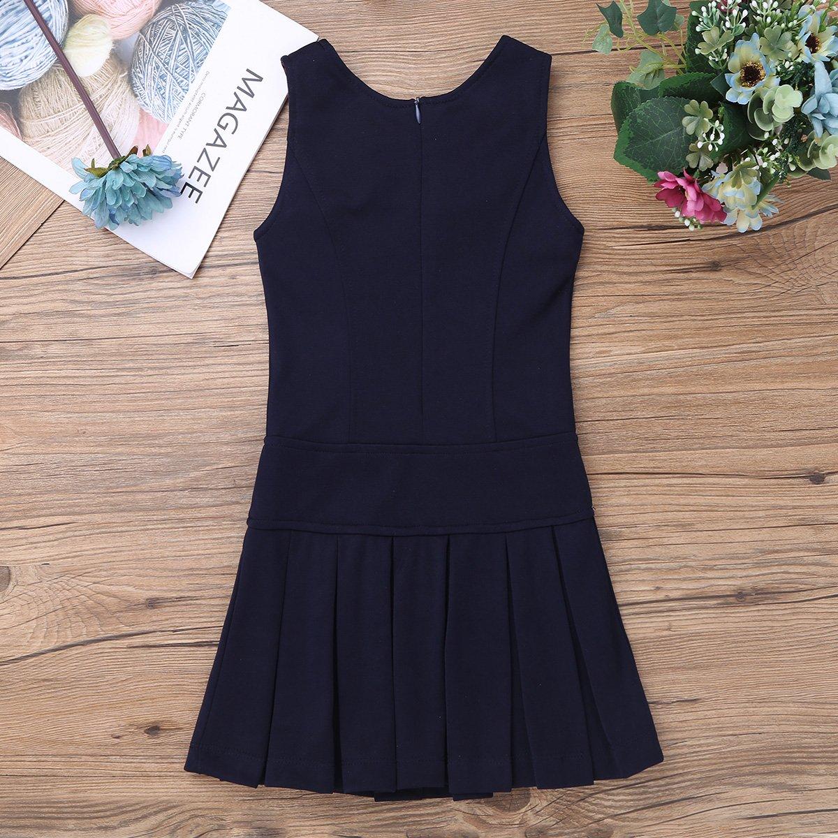 iEFiEL Kids Girls Stretchy Pleated Hem School Uniform Jumper Buttons Dress