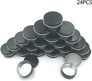 JM-capricorns 24 Pcs 1 Oz Tins Black Small Aluminum Round Lip Balm Tin Storage Jar Containers with Screw Cap for Lip Balm, Cosmetic, Candles or Tea(Black)