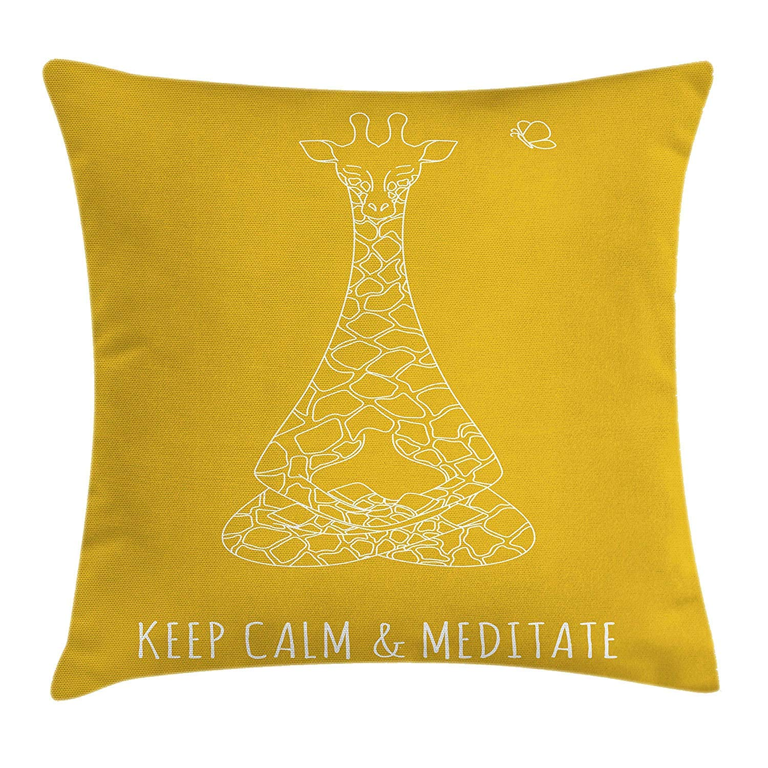 Keep Calm Throw Pillow Cushion Cover, Meditative Animals Giraffe in Drawing Style on Yellow with Butterfly, Decorative Square Accent Pillow Case, 18 X 18 inches, Earth Yellow White YVSXO