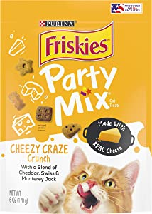 Purina Friskies Made in USA Facilities Cat Treats, Party Mix Cheezy Craze Crunch - (6) 6 oz. Pouches