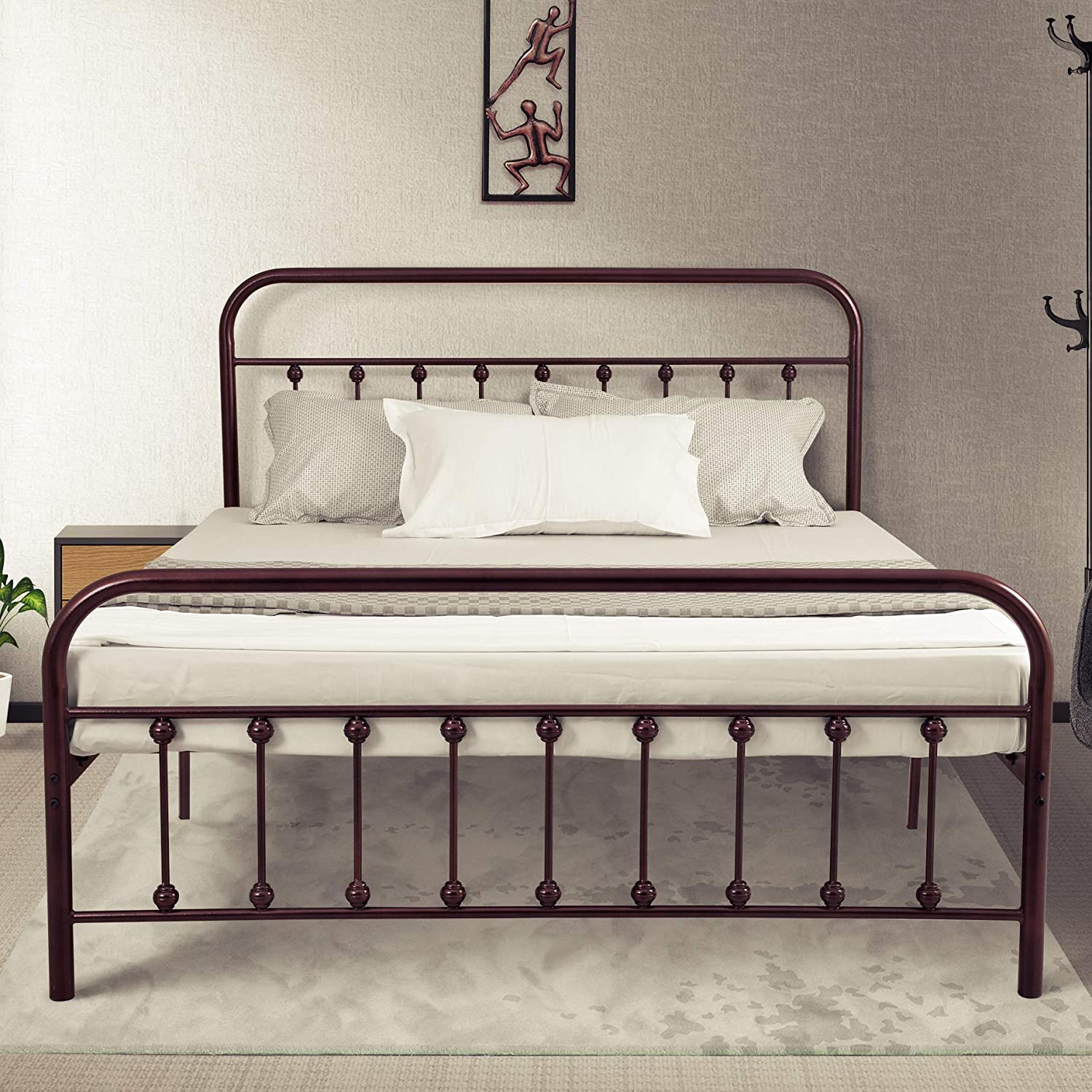 Amazon Com Ambee21 Vintage Queen Metal Bed Frame With Headboard