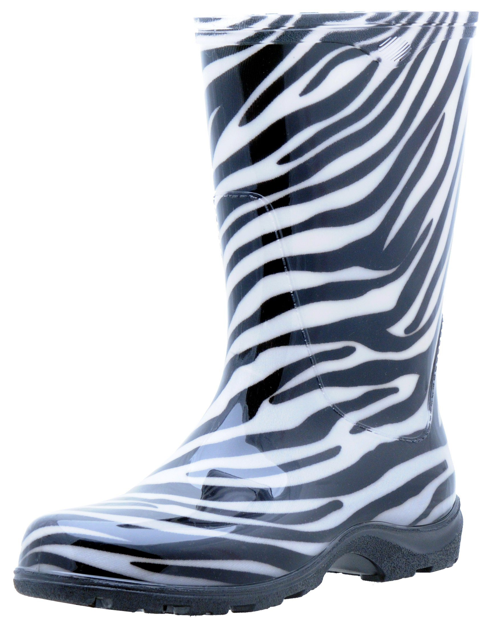 Sloggers Women's Rain and Garden Boot with All-Day-Comfort Insole, Zebra Print - Wo's size 8 - Style 5006ZE08