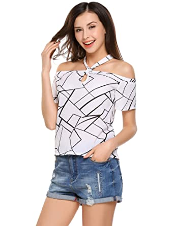 f6f3f1a791fc3 Dealwell Women s Halter Neck Off The Shoulder Top T-Shirt Short Sleeve  Blouse at Amazon Women s Clothing store