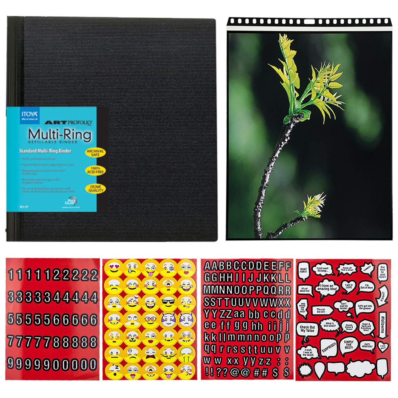 Itoya Profolio-MultiRing Refillable Binder 17''x11'' Landscape + Itoya ProFolio PolyGlass Pages 17 x 11 10 Pieces + Scrapbook Emoji Skickers