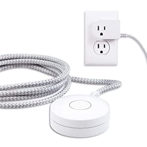Cordinate Designer Switch Plug with Braided Cord, 6 Ft Long Power Cable, for Tabletop or Wall Mount, Perfect for Lamps/Seasonal Lights, 3 Prong, Slip Resistant Base, White/Gray, 41095
