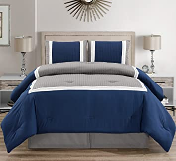 3 Piece Navy Blue/Grey/White Color Block Bed in A Bag Down Alternative  Comforter Set Twin Size Bedding. Perfect for Any Bed Room or Guest Room