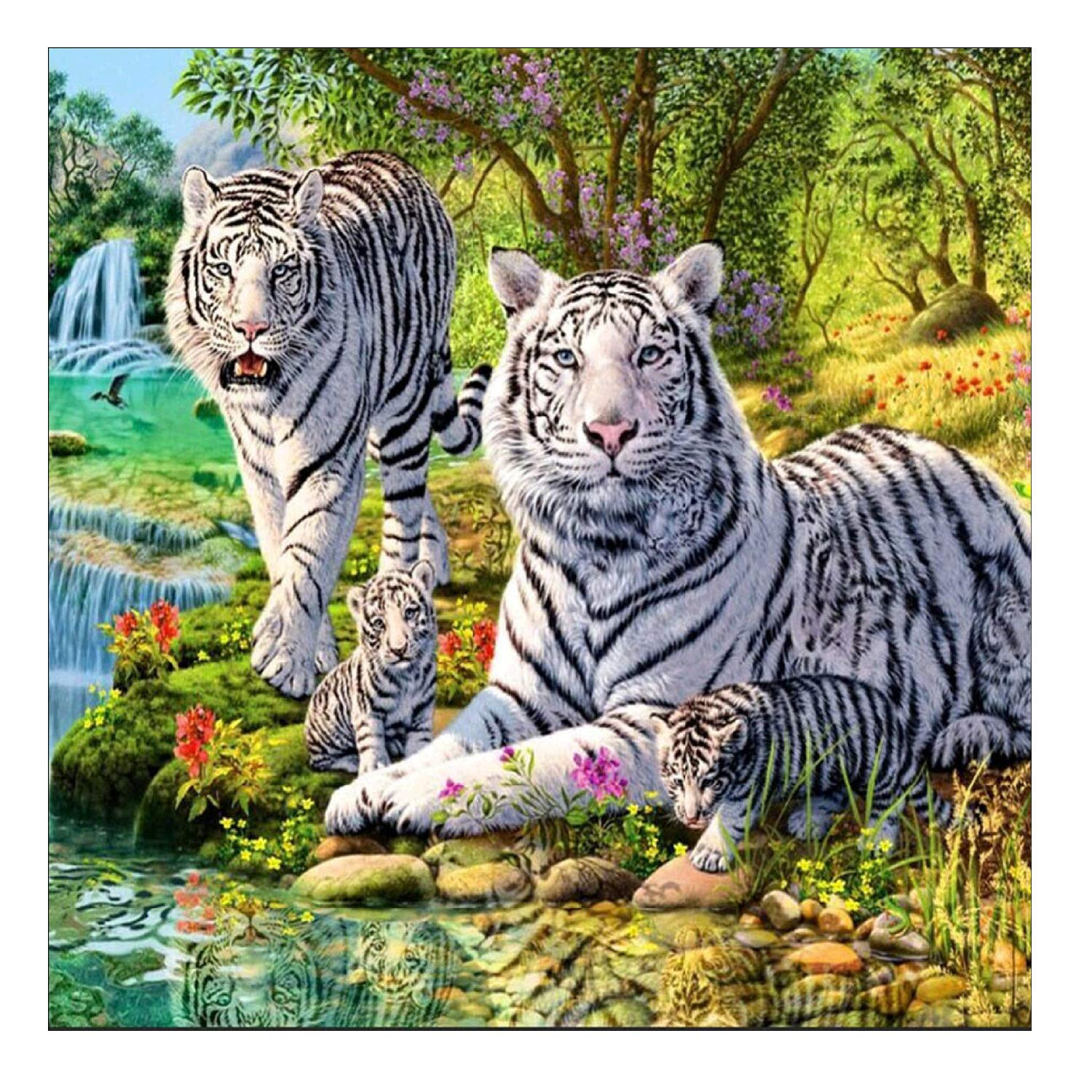 DIY 5D Diamond Painting by Number Kit, White Tiger Crystal Rhinestone Embroidery Cross Stitch Arts Craft Supply Canvas Wall Decor AIRDEA