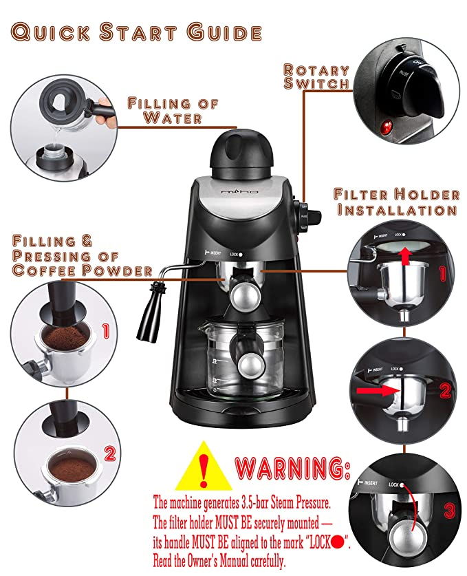 Amazon.com: MIHO máquina de café CM-01 A 3,5 bar Vapor ...