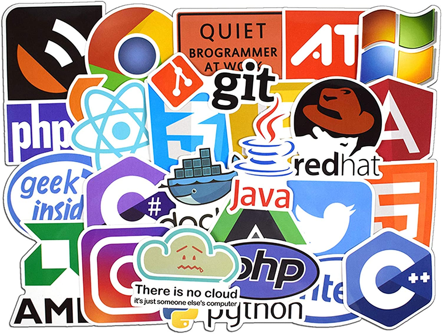 50 Pcs Program Vinyl Waterproof Stickers, for Laptop, Luggage, Car, Skateboard, Motorcycle, Bicycle Decal Graffiti Patches