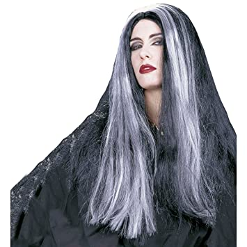 Peluca de pelo con diseño de bruja Halloween negro-gris de la peluca de la