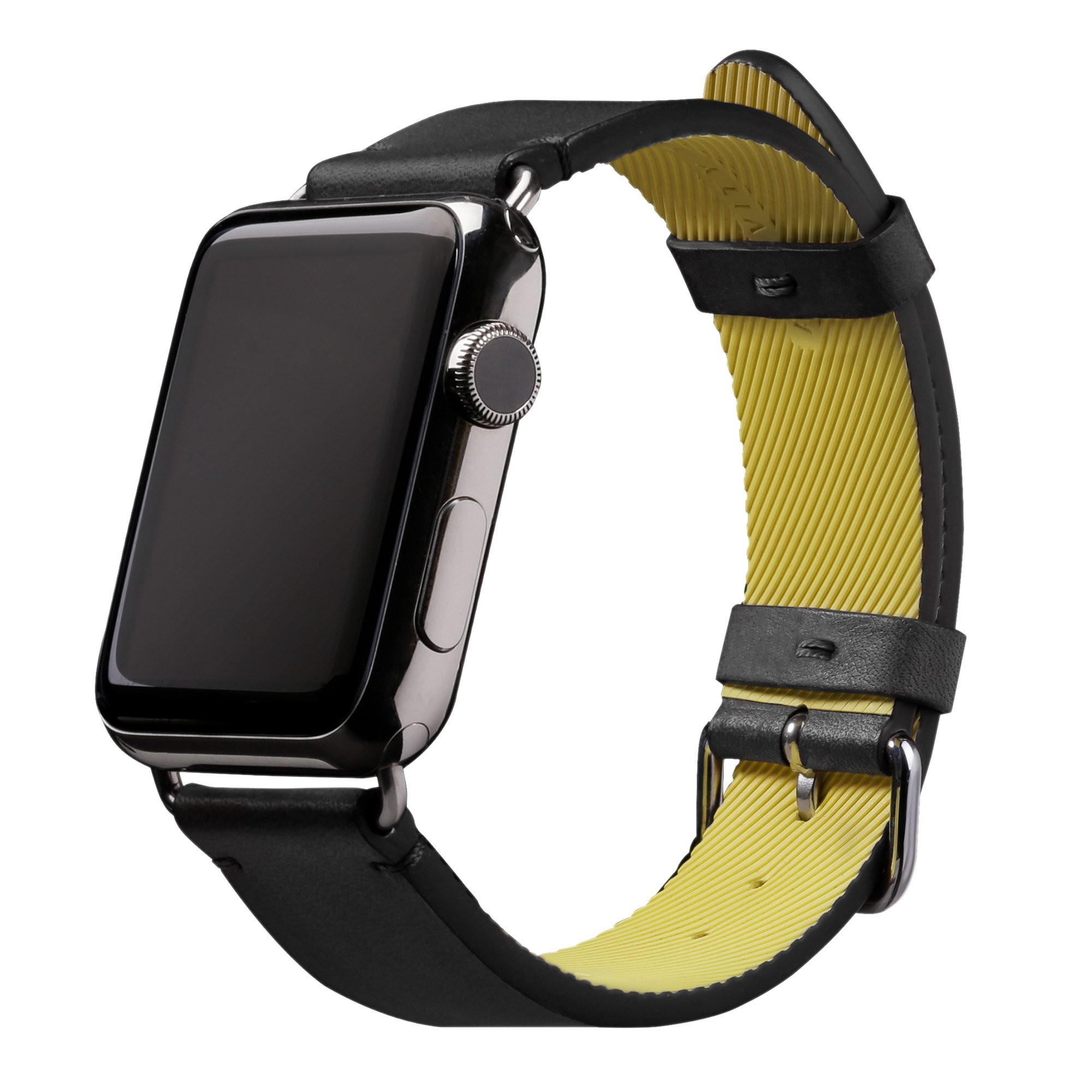 Native Union Active Strap Leather Edition - Genuine Leather Sports Strap with High-Performance Fluoroelastomer Backing for Apple Watch 42mm (Black) by Native Union
