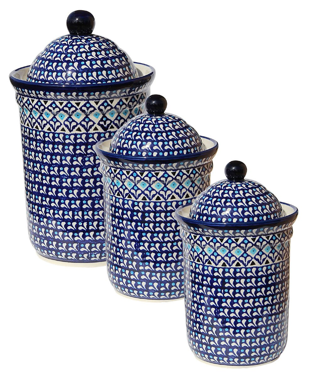 Polish Pottery 3 Pc Canister Set From Zaklady Ceramiczne Boleslawiec 1244/1243-217a by Polish Pottery Market
