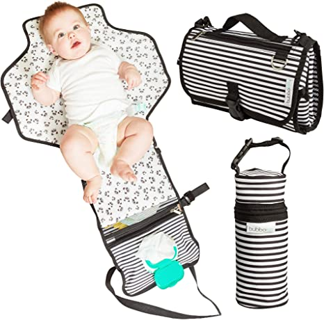 3-in-1 Baby Pram Pushchair Stroller Buggy Organiser Insulated Warmer Cool Bag Universal Fit with 6 Pockets Patterned Blue